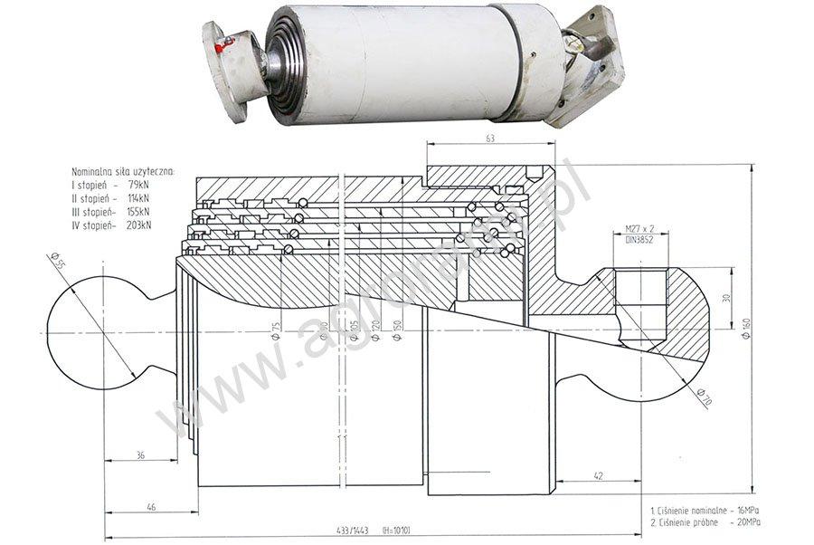 Siłownik hydrauliczny teleskopowy ST4/1010