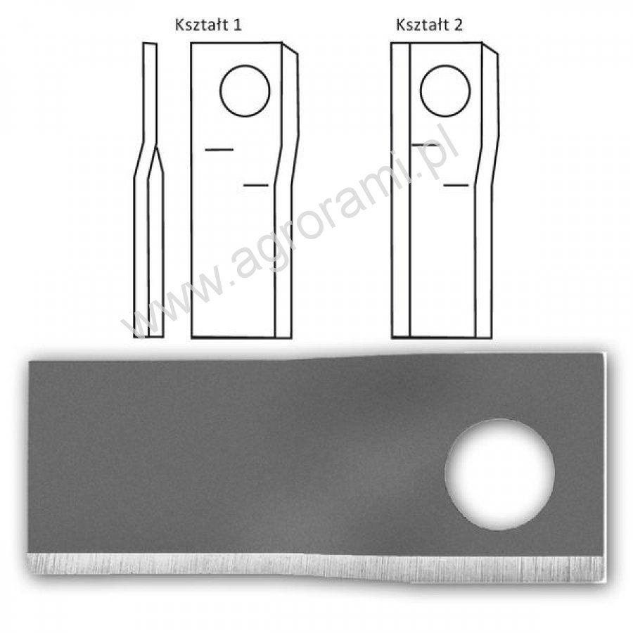 Nożyk kosiarki prawy wyg. GERPOL 100 x 48 x 4 , Fi-21