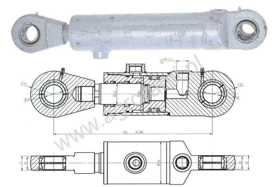 Cylinder hydrauliczny łyzki CJ2F80/45/200z